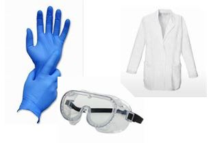 Image contains photos of surgical gloves, safety googles and lab coat