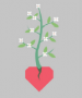 Red heart with a green plant with white flowers growing from it on a grey background