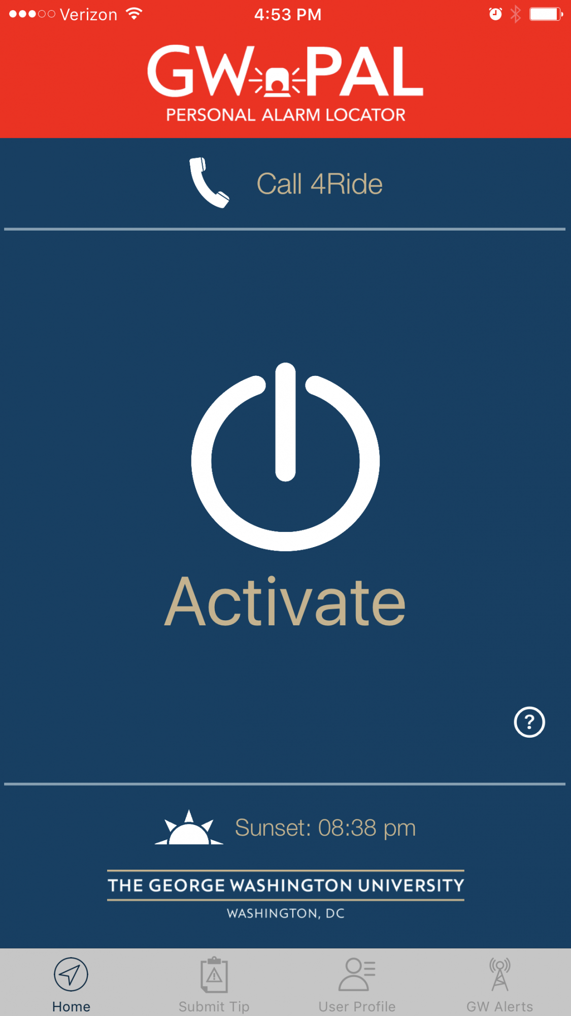 Screenshot of the activate screen in GW PAL