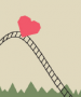Red heart going down a steep roller coaster
