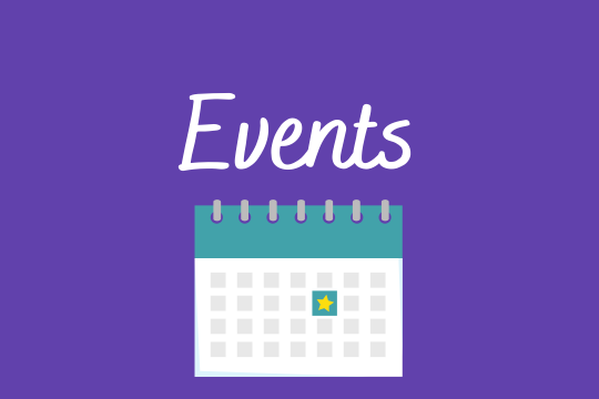 """""""Events"""" in white script on a purple background. A teal, white and grey calendar is underneath the script"""