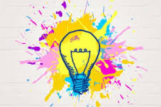 lightbulb sketched on top of a paint splatter of yellow, orange, green, blue, purple, and pink